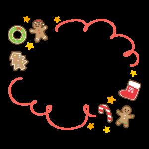 クリスマスのクッキー・ジンジャーブレッドマンのもこもこフレーム・枠イラスト
