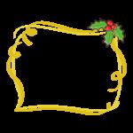 ヒイラギと金色のリボンのフレーム・枠イラスト