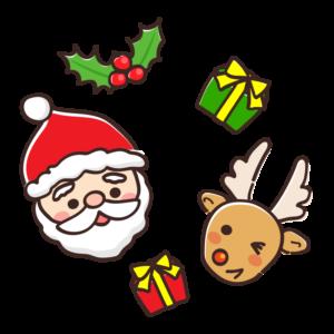サンタクロースとトナカイの顔とプレゼントのイラスト