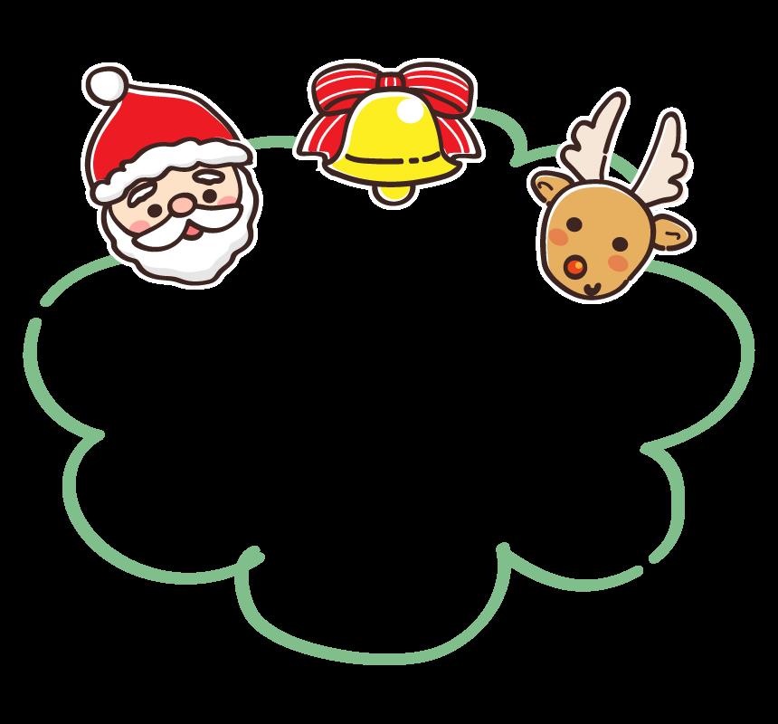サンタクロースとトナカイの顔とベルのもこもこフレーム・枠イラスト