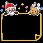 サンタクロースとトナカイの顔と星の黄色い紙のフレーム・枠イラスト