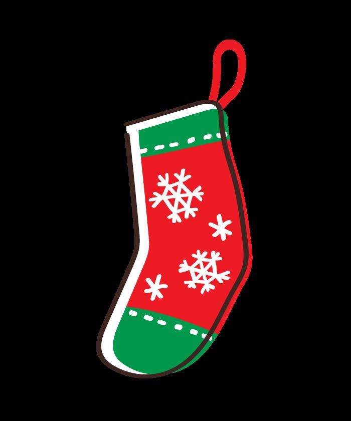 雪の結晶の模様のクリスマス靴下のイラスト