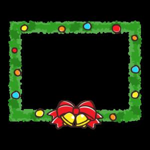 クリスマスリースの長方形フレーム・枠イラスト