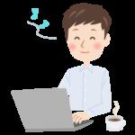 パソコンをしながら笑顔で音符を浮かべる男性のイラスト