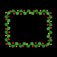 ヒイラギのリースの長方形フレーム・枠イラスト