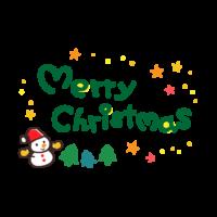 サンタ帽子の雪だるまと星の「merry christmas」文字のイラスト