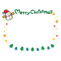 雪だるまと星の「merry christmas」文字のフレーム・枠イラスト