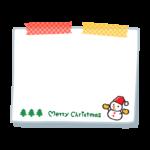 雪だるまと「merry christmas」文字のメモ用紙風フレーム・枠イラスト