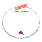 サンタ帽子と「merry christmas」文字のメモ用紙風フレーム・枠イラスト