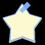 マスキングテープで留めた星のメモ用紙風フレーム・枠イラスト