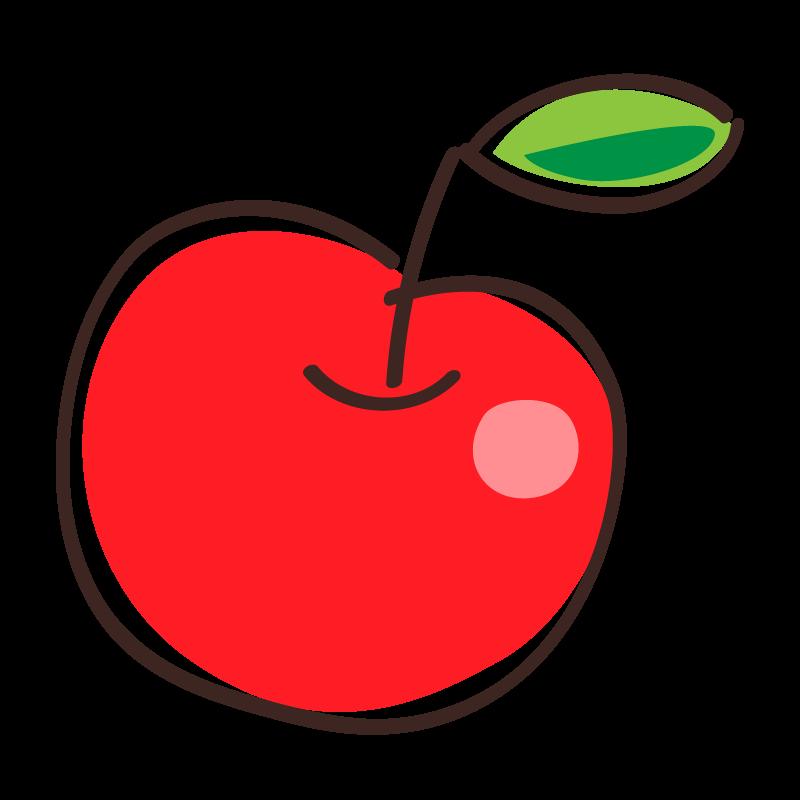 真っ赤なリンゴのイラスト