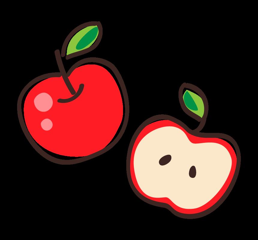 真っ赤なリンゴと半分にカットしたリンゴのイラスト