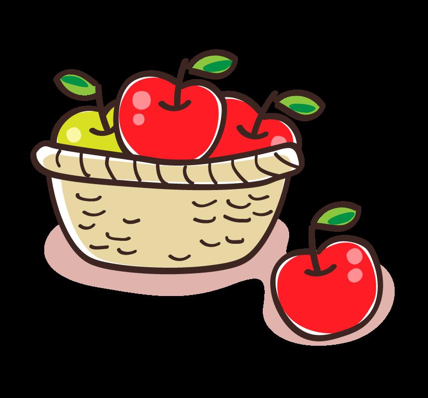 かご盛りのリンゴのイラスト