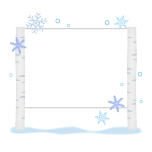 白樺の看板と雪の結晶のフレーム・枠イラスト