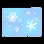 雪の結晶の青色四角のイラスト