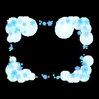 雪の結晶のふわふわ青色のフレーム・枠イラスト