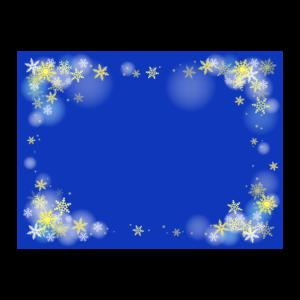 雪の結晶の青背景の四角いフレーム・枠イラスト
