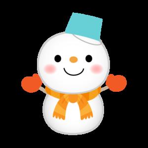 水色のバケツをかぶった雪だるまのイラスト