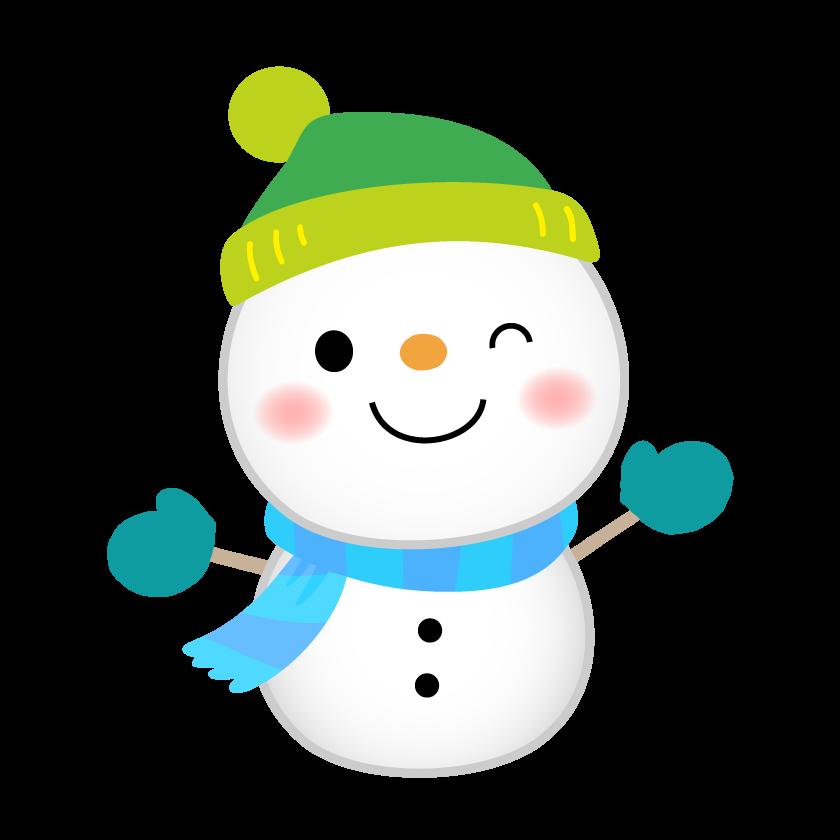 緑色の帽子をかぶった雪だるまのイラスト