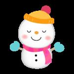 ピンクのマフラーを巻いた雪だるまのイラスト