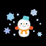 雪だるまと雪の結晶のイラスト