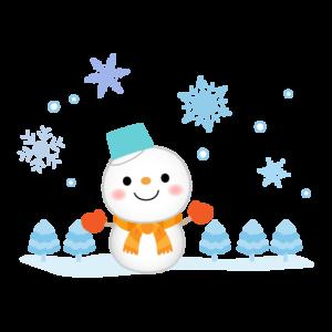 雪だるまと雪の降る景色のイラスト