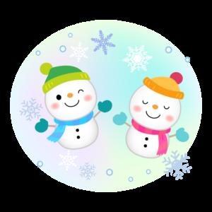 ふたつの雪だるまと雪の結晶のイラスト