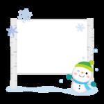 雪だるまと白樺の看板のフレーム・枠イラスト