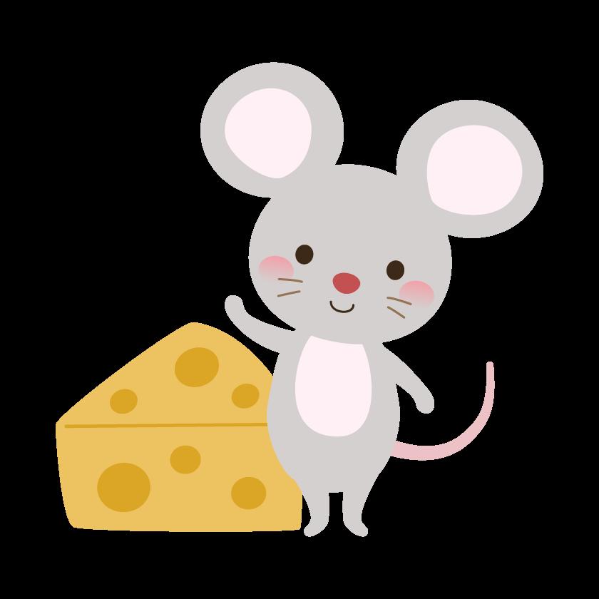 かわいいネズミとチーズのイラスト