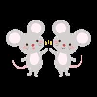 ハイタッチをするネズミのイラスト