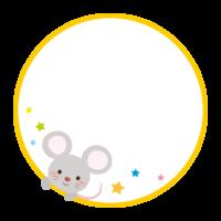 かわいいネズミと星の黄色い円形フレーム・枠イラスト