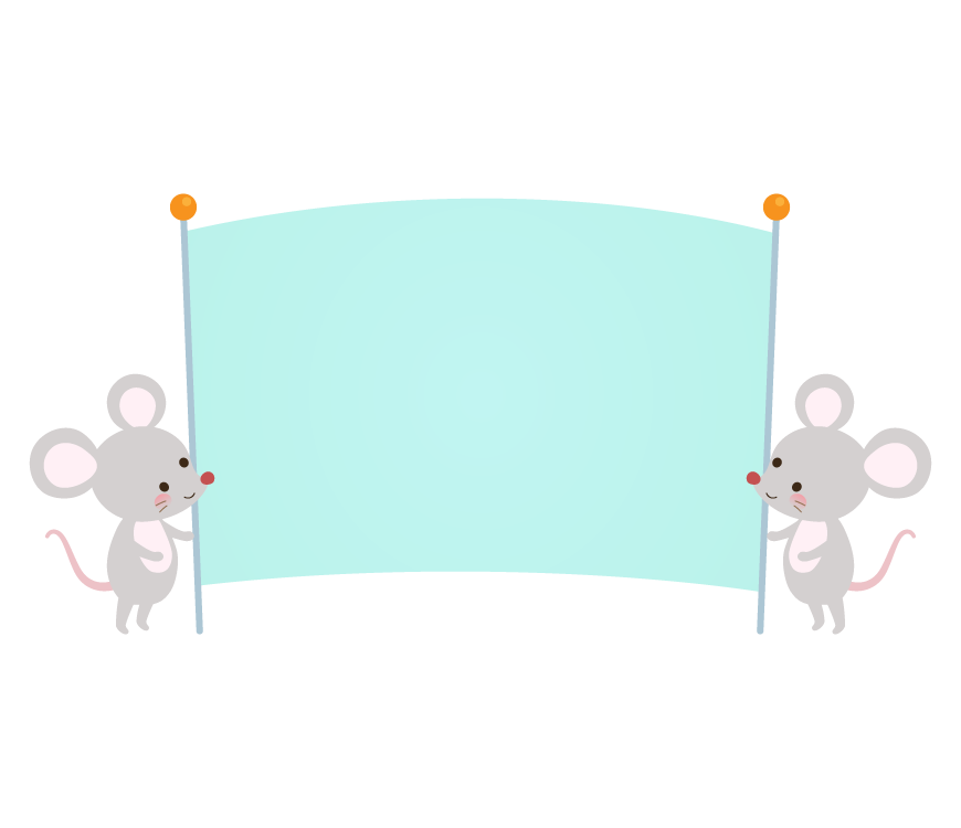 青い旗を持ったかわいい2匹のネズミのフレーム・枠イラスト
