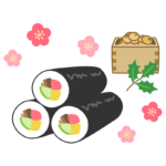 恵方巻きと豆まきの節分イラスト