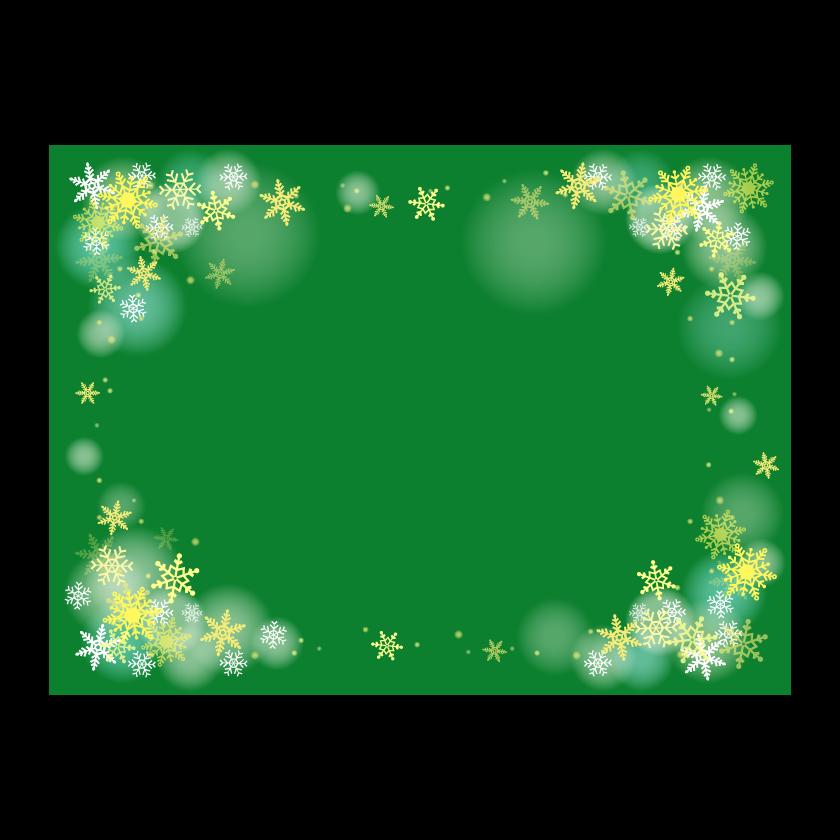 雪の結晶の緑色背景の四角いフレーム・枠イラスト