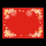 雪の結晶の赤背景の四角いフレーム・枠イラスト