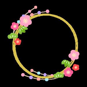 松竹梅と金色の円形フレーム・枠イラスト