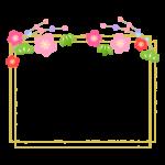松竹梅と金色の二重四角のフレーム・枠イラスト