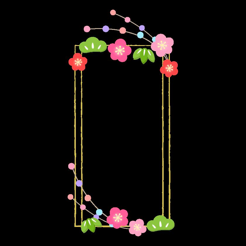 松竹梅と金色の縦型四角のフレーム・枠イラスト