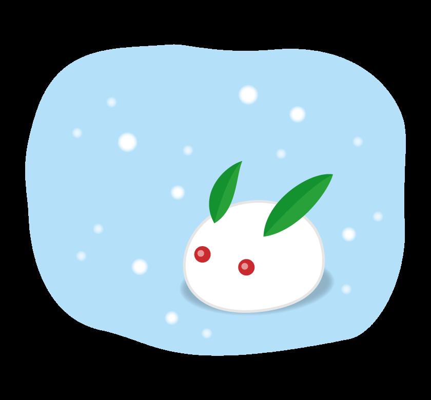 雪降る中の雪ウサギのイラスト