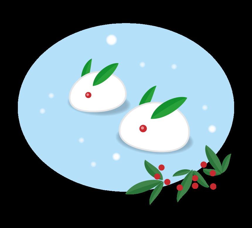 雪降る中の雪ウサギと南天のイラスト