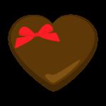赤いリボンをつけたハートのチョコレートのイラスト