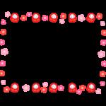 かわいい達磨(だるま)と梅の花のフレーム・枠イラスト