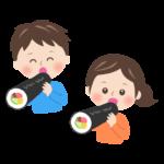 恵方巻きを食べる子供の節分イラスト