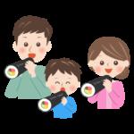恵方巻きを食べる家族の節分イラスト