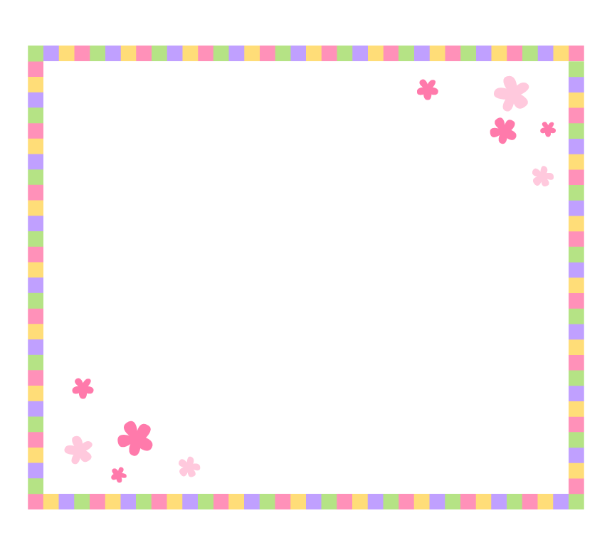 四角とお花の囲みフレーム・枠イラスト
