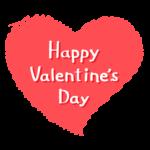 手書き風のハートと「Happy Valentine's Day」の文字イラスト
