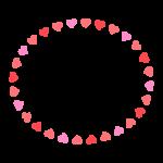 ハートの囲み楕円形フレーム・枠イラスト