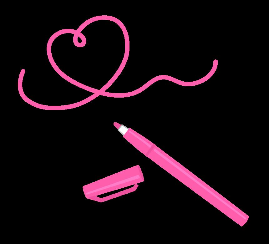 ピンク色のマーカーペンとハートのイラスト
