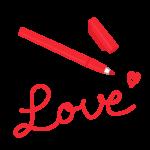 赤色のマーカーペンと「LOVE」のイラスト