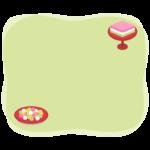 ひなあられと菱餅の黄緑色のフレーム・枠イラスト